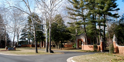 Entrance to National Memorial Park -Grounds where National Funeral Home and SCI Central Embalming facility are located.