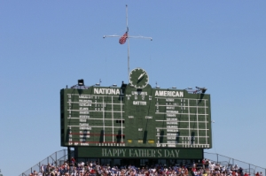 The Beyond the Vines Cemetery will have a Stained Glass replica of the Historic Wrigley Field Scoreboard.