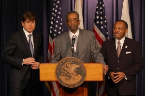 Illinois Senator Roland Burris(on right) and Government Regulators will give information in a Funeral Scandal Lawsuit