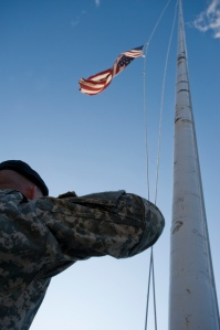 Fort Hood Flag at half-mast in hoor of shooting victims (US Army Photo from Flickr)