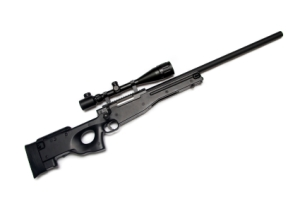 Sniper rifle with riflescope.